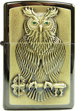 Zippo Eule Owl of Wisdom 3D Emblem limited Edition limitiert xxxx/1000 Green Eye