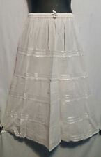 Women's Long elastic waist Skirt with pull string 100% cotton White Free Size