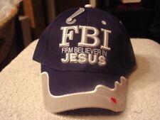 JESUS FBI FIRM BELIEVER IN JESUS RELIGIOUS BASEBALL CAP HAT ( DARK BLUE )