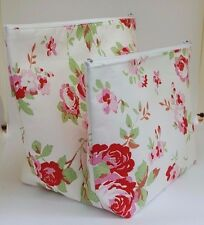 White Rosali Fabric Make Up Bag / Wash Bag / Storage Pouch 2 Sizes Available