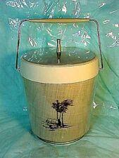 Mid-Century Vintage Retro Ice Bucket NFC/HFC U.S.A WEAVE PATTERN -MAN CANOE, HUT
