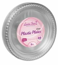 "Laura Stein 9"" Clear Plastic Disposable Dinner Party Plates, 40 count"