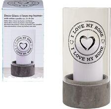 Windlicht Deko-Glas mit Kerze »I love my home« Kerzenglas Candle Liebe Geschenk