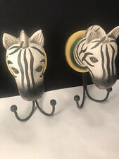 2 Zebra Wall Hook Hangers Indonesia 8' Tall