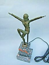 ART DECO  STYLE LADY LAMP MARBLE BASE METAL BODY VINTAGE DECOR VGC