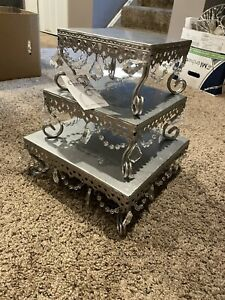 Opulent Treasures 3 Silver Beaded Square Cake Stand Wedding Desserts Party Set