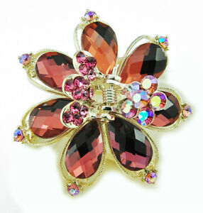 Butterflies Metal Hair Clip Hair Accessory Stone Crystal Vintage Style - Red
