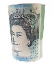 LARGE NEW £5 FIVE POUND NOTE MONEY TIN SAVING BOX PIGGY BANK CASH SAVINGS