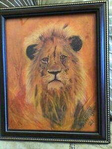 original pastel painting lion