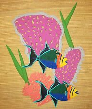 "STUNNING HAND PAINTED XL ONE PIECE METAL ART CORAL REEF WALL SCULPTURE 21"" X 16"""