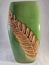 "Fern Embossed Ceramic Vase 11.5"" tall Green Nature tones"