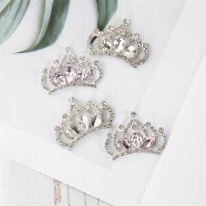 4 pcs Metal Rhinestones Crown Flatback Embellishments Wedding Decors 37x26mm