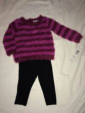 NEW DKNY girls 12 Months SWEATER and LEGGINGS SET OUTFIT Infant Pink Burgundy