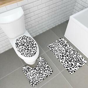 3PCS  Animal Fur Non-Slip Bathroom Carpet Pedestal Rug+Toilet Cover+Bath Mat Set