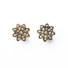 E1421 Women Boutique Costume Jewelry Pave Crystals Leaves Button Stud Earrings