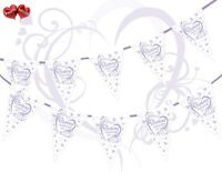 60th Diamond Anniversary Themed Hearts Lilac Luxury Bunting Banner 15 flags