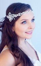Crystal Eyelet Beaded Bridal Head Wrap Headband & Crystal Brooch 406-30431