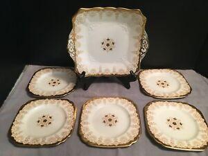 Vintage PLANT Tuscan China Made In England Dessert Set w/ Gold Rims & Medallion