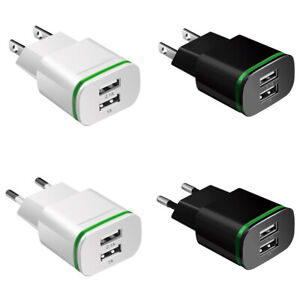 For Samsung For iPhone Travel Dual USB 2-Port 5V 2.1A Wall Charger Adapter EU US