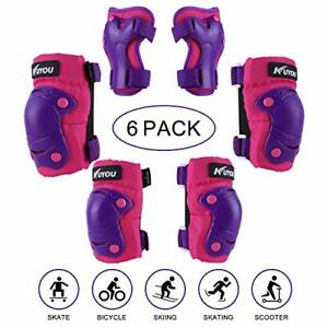 Kuyou Kids Protective Gear, 6 Packs Knee Pads Elbow Pads Wrist Guards for