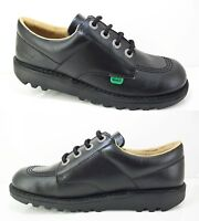 New KICKERS Kick Lo Black Leather Shoes Patent Girls Boys School Lace Sale 12-6