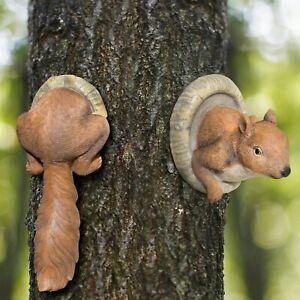 Novelty Resin Red Squirrel Tree Peeker Animal Garden Ornament Statue Decoration