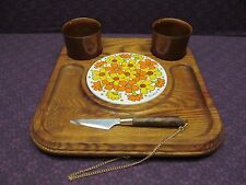 VINTAGE RETRO GOODWOOD CHEESE TRAY BASE W/ TILE, KNIFE & CONDIMENT CUPS JAPAN
