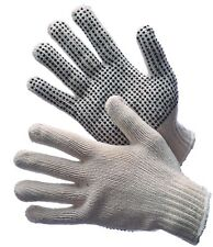 48 PAIRS STANDARD STRING KNIT PVC DOT ONE SIDE WORK GLOVES - SIZE: LARGE