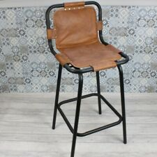 More details for rustic industrial metal kitchen vintage stool, brown leather, coffee shop / bar