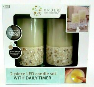 """Order Home Collection 2 Pc LED Candle Gift Set Ivory Beach Shells Timer 3"""" X 5"""""""