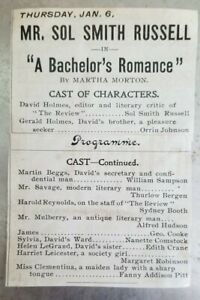 Sydney Booth son of Junius B Booth Jr Bachelors Romance 1890s partial playbill