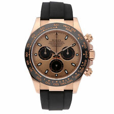 Rolex Daytona Rose Gold Ceramic Watch Pink Black Dial Rubber Strap 116515LN