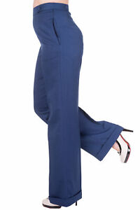Navy Wide Leg High Waist 1940's Style Vintage Retro Trousers By BANNED Apparel