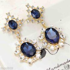 Ear Studs Clip hoop earrings e648 New Lady Woman Elegant crystal Rhinestone long