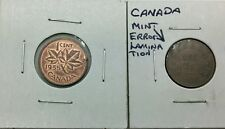 Canada 1920 George V & 1955 EIIR Small Cents Pair Of Lamination Error Coins