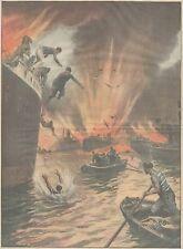 K0090 Atene - Porto Pireo - Nave incendiata salta in aria - Stampa - 1930 print