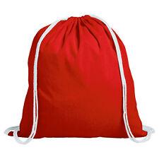 10 X Plain Red 100 Cotton Drawstring Rucksack Tote Gym School PE Bags