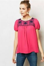 MOULINETTE SOEURS Anthropologie EPIONE Peasant Blouse Beaded Embroidered Size XS