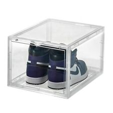 MAGNETIC DROP FRONT Shoe Box Storage Container - Stackable (2 Pack CLEAR)
