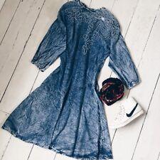 Retro Embroidered Denim Dress