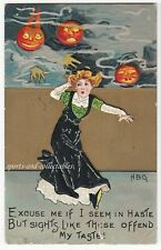 Antique HALLOWEEN Postcard - SCARED LADY / J'OLs - Artist Signed HBG p/used 1912