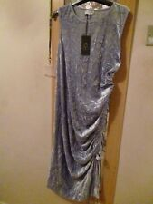 Ladies Next Maternity Dress Silver Grey Crushed Velvet Size 16 BNWT