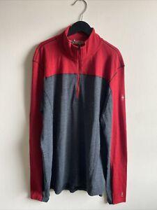SmartWool Men's LARGE Merino Sport 250 Long Sleeve 1/4 Zip MSRP$100 Gray/Red