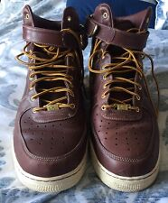 Preowned Nike Air Force 1 High '07 LV8 Men's Size 15 Work Boot Red Brown
