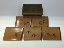 Japanese Wooden Sweets Plate Vintage 5pc Wajima Lacquer Ware Hand Paint A284