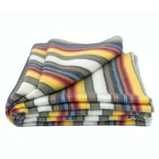 "Soft & Warm Striped Baby Alpaca wool throw blanket 98""x67"" QUEEN"