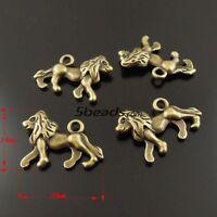 8Pcs Tibetan Silver,Antiqued Gold,Bronze 3D Lion Charms Pendants DIY M1222