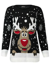Women's Ladies Knitted Novelty Vintage Retro Christmas Xmas Sweater Jumper Top Black Rudolph UK XL 16-18