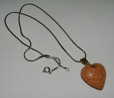 Collana con ciondolo a cuore in pasta di Corallo Rosa OMA19