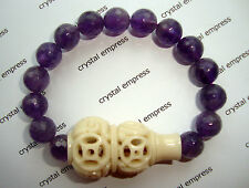 FENG SHUI - 10MM FACETED AMETHYST WITH CARVED WU LOU